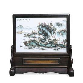 清  珠山八友汪野亭瓷板画