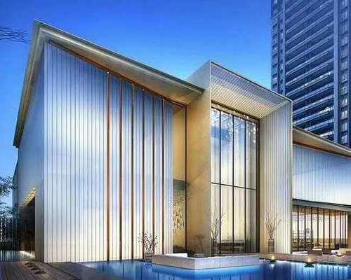 江苏南通华强翰华雅苑售楼部展示中心7.4米U型玻璃