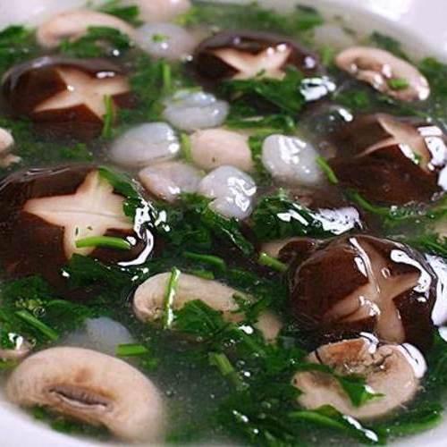 荠菜虾仁烩双菇