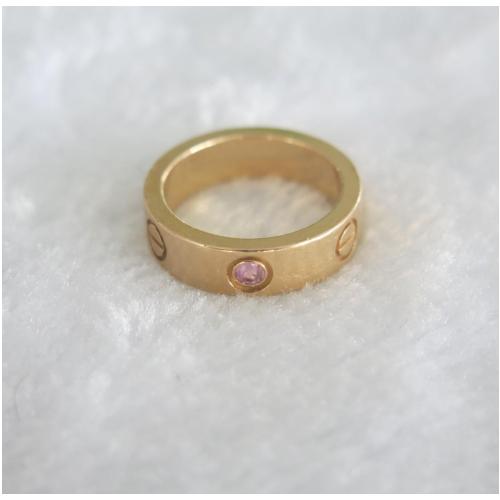 卡地亚18K玫瑰金单颗粉红蓝宝石戒指 53号