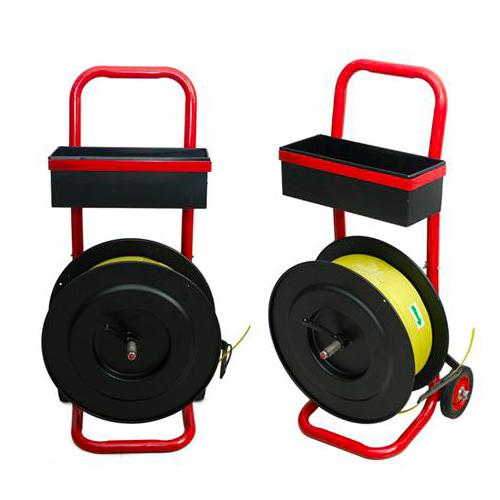 PET塑钢带带盘车 大圆盘加重型钢铁带盘车 塑钢带辅助小推车