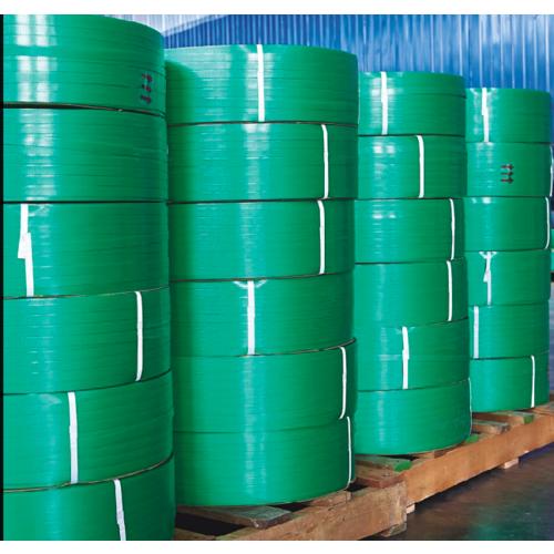 供应绿色PET塑钢打包带 重货收紧带 快递封装塑钢带批发