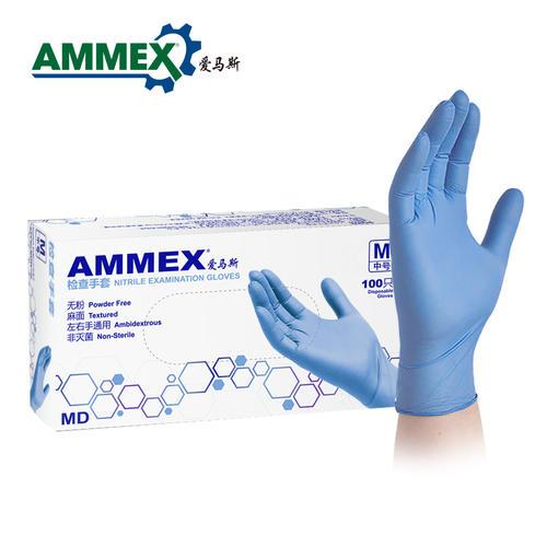 爱马斯AMMEX  APFNCMD40100  一次性丁腈检查手套医务卫生隔离防水劳保家用加厚耐用100只/盒 蓝色