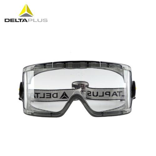 代尔塔/DELTAPLUS 101104 护目镜高闭合PC防化工业防护眼镜全包围防雾防飞溅弹性织物头带眼罩