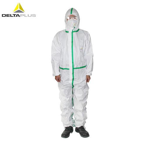 代尔塔/DELTAPLUS 406012 无纺布防化防尘带帽连体服 白色