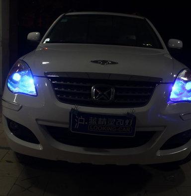 江铃驭胜S350改海拉五透镜小糸安定器欧司朗CBI5500K上海蓝精灵