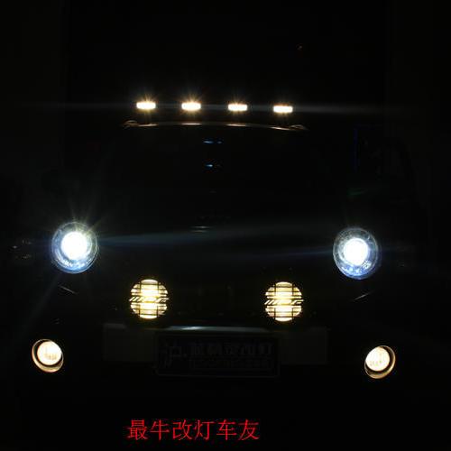 JEEP指南者改**欧标Q5小糸双光透镜+LED光导天使眼  屌爆了   上海蓝精灵改灯