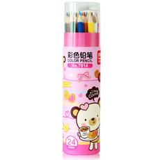 亚博足球app下载7014彩色铅笔24色彩色铅笔桶装绘画铅笔带卷笔刀画画笔