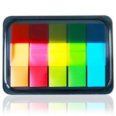 办公文具得力荧光膜指示标签 分类贴 便利百事贴 索引贴