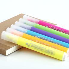 齐心K9036 办公用品 彩色记号笔 标记笔 绿紫粉橙黄蓝荧光笔