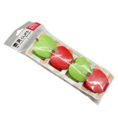Deli/亚博足球app下载9491票夹 可爱苹果 卡通票夹 塑料 彩色票夹 4只/包