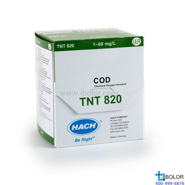 TNT820 COD預制試劑 1.0-60mg/L 150支 帶條形碼 13mm HACH/哈希 哈希試劑