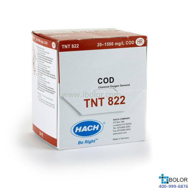 TNT822 COD 預制試劑 20-1500mg/L 25支 帶條形碼 13mm HACH/哈希 哈希試劑
