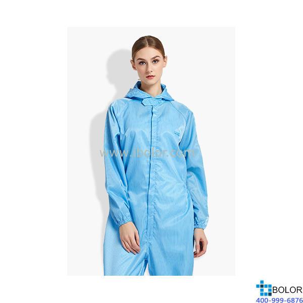 无尘衣 (带兜帽/中间拉链一体型) 颜色:蓝色;尺寸:4L码