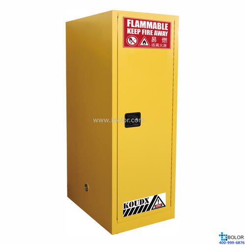 黃色安全柜 易燃液體防火安全柜 54 Gal/204L 單門自動門 SCS054Y