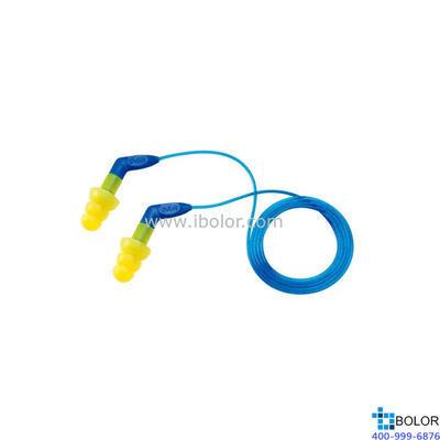 3M 可重复使用耳塞,340-8002,Ultrafit 27 圣诞树型硅胶材质 带线 带把手,100副/盒