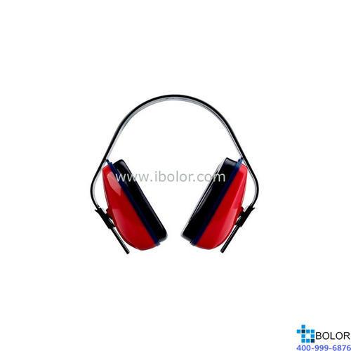 3M 头戴式耳罩,1425,经济型 红黑