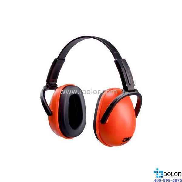3M 頭戴式耳罩,1436,經濟型折疊式 紅黑