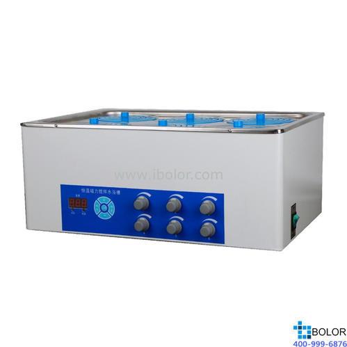 磁力搅拌水浴锅 温度范围:+5~100℃;搅拌工位:六工位;内胆尺寸:470×300×140