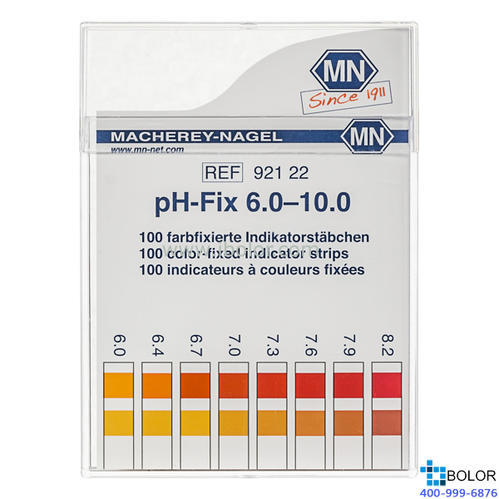 无渗漏pH测试条 测试范围:6.0-10.0;适用于弱缓冲溶液和强碱性溶液 MN 92122