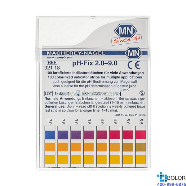 无渗漏pH测试条 测试范围:2.0-9.0;适用于弱缓冲溶液和强碱性溶液 MN 92118