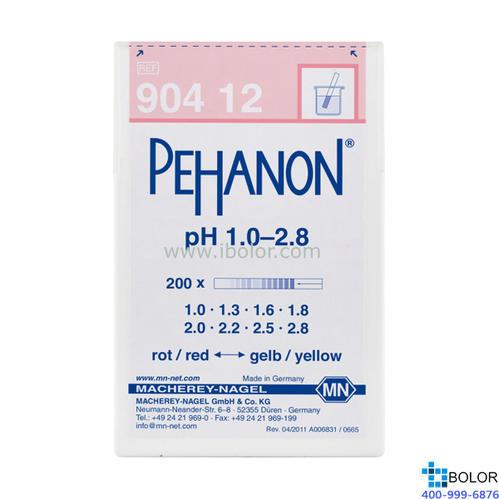 范围:1.0-2.8;渗漏pH测试条;适用于有色溶液 有多种量程选择 MN 90412