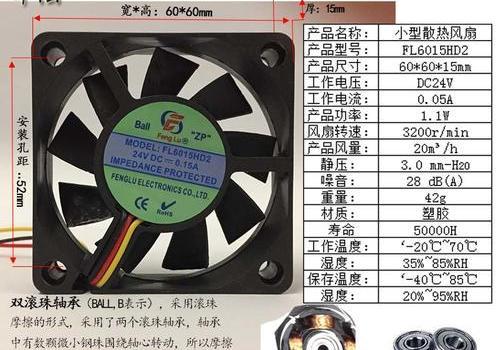 工业排风扇 方形 FL6015-DC 12V/24V