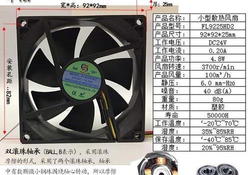 工业排风扇 方形 FL9225-DC 12V/24V