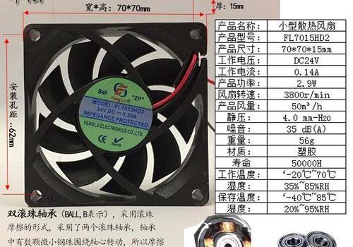 工业排风扇 方形 FL7015-DC 12V/24V