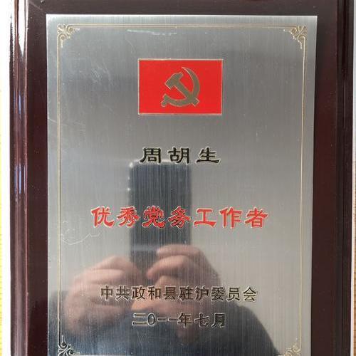 优秀党务工作者-荣誉证书