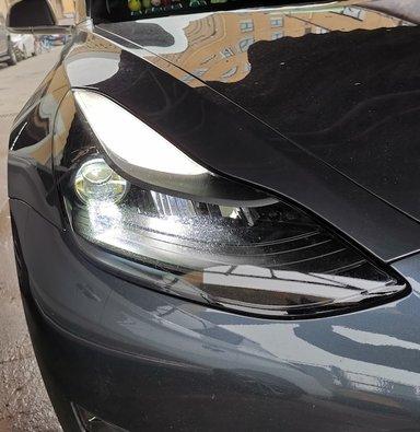 激光大灯改装特斯拉MODEL3大灯改装透镜大灯熏黑化