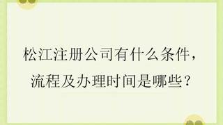 松江亚游手机版入口公司有什么条件,流程及办理时间是哪些?