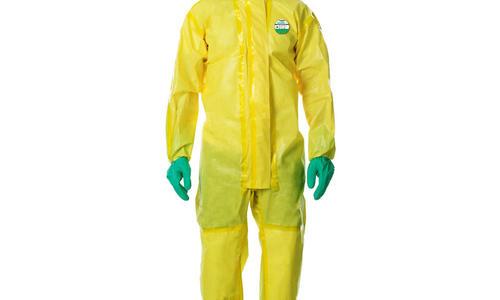 雷克兰CT1S428防化服 黄色连体连帽防化服 凯麦斯1系列胶条缝合防水防酸碱喷溅防护服 黄色CT1S428 L