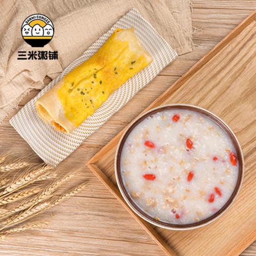 早安套餐3:牛奶燕麦粥+肉松鸡蛋饼
