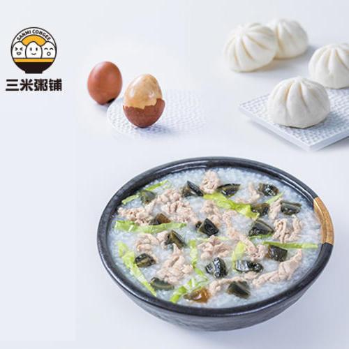 皮蛋瘦肉粥+香菇菜包+茶叶蛋