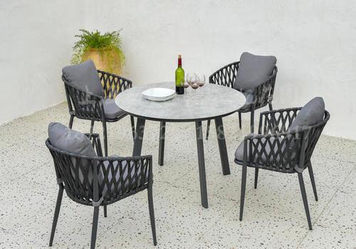 J22-113(弗伦斯铝织带餐椅+铝架圆桌)